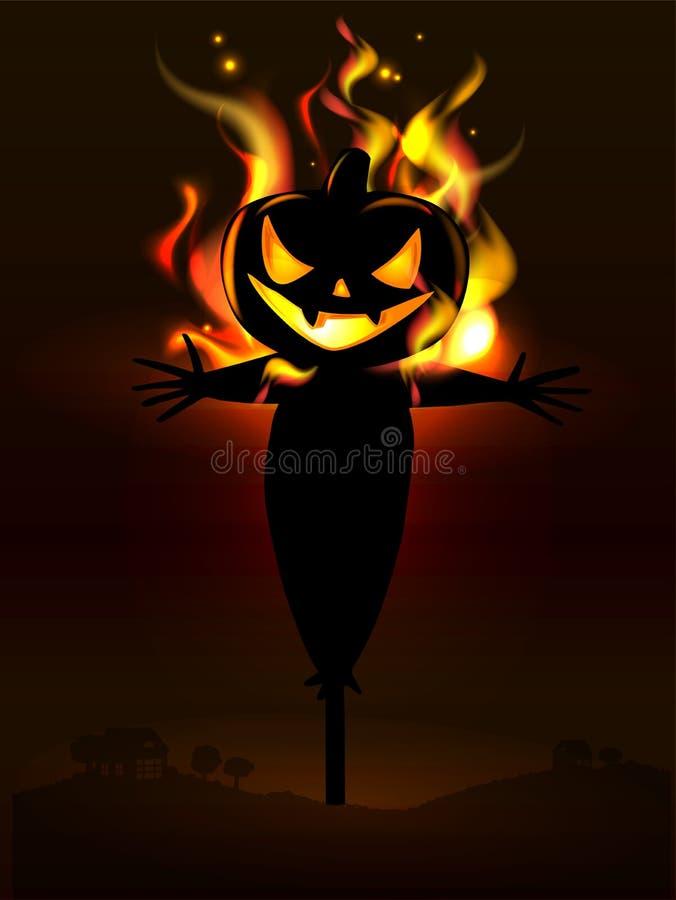 Invitación del partido de Halloween con las calabazas asustadizas stock de ilustración