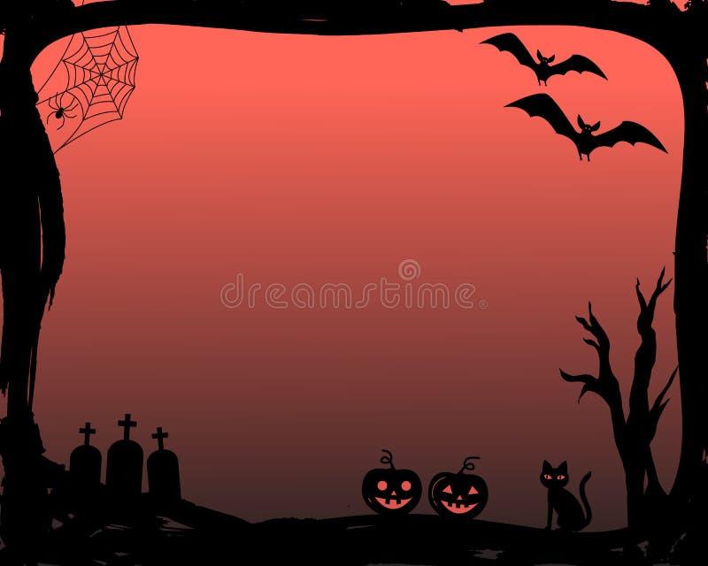 Invitación del partido de Halloween en marco del vector con las siluetas de palos, del gato, de la calabaza, de sepulcros, del we stock de ilustración