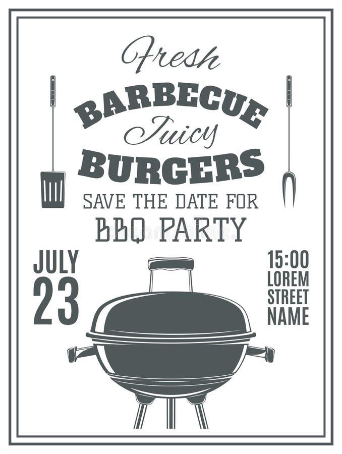 Invitación del partido de la barbacoa del vintage libre illustration