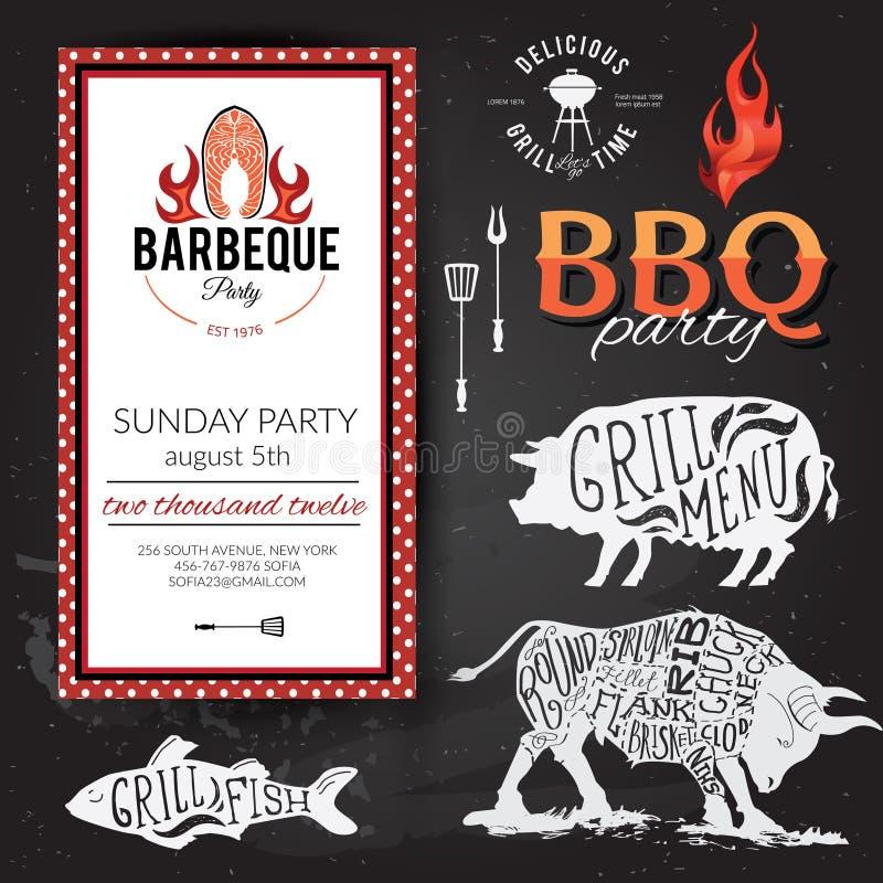 Invitación del partido de la barbacoa Diseño del menú del folleto del Bbq ilustración del vector