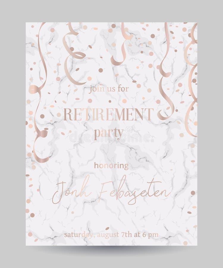Invitación del partido de retiro Diseñe la plantilla con confeti y la serpentina en el fondo de mármol blanco ilustración del vector