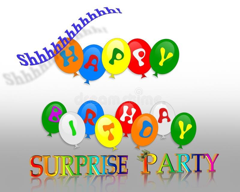 Invitación del partido de sorpresa del cumpleaños ilustración del vector