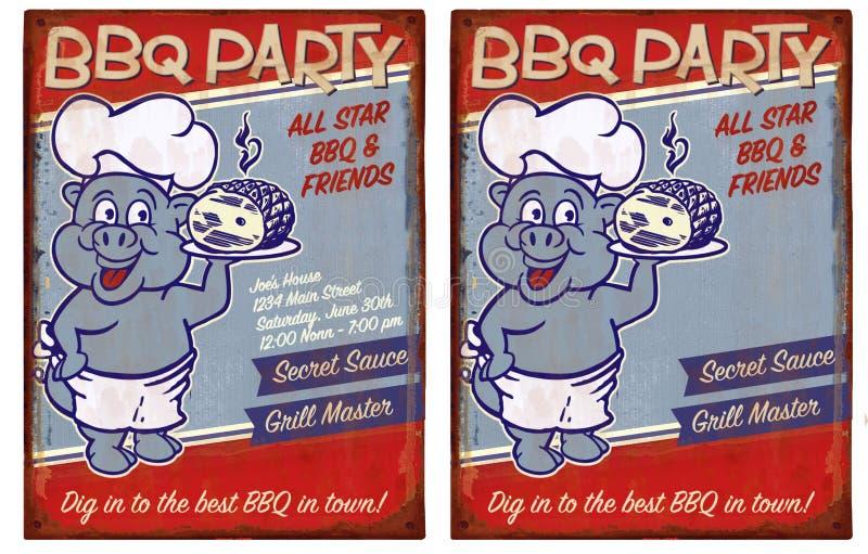 Invitación del partido del Bbq libre illustration