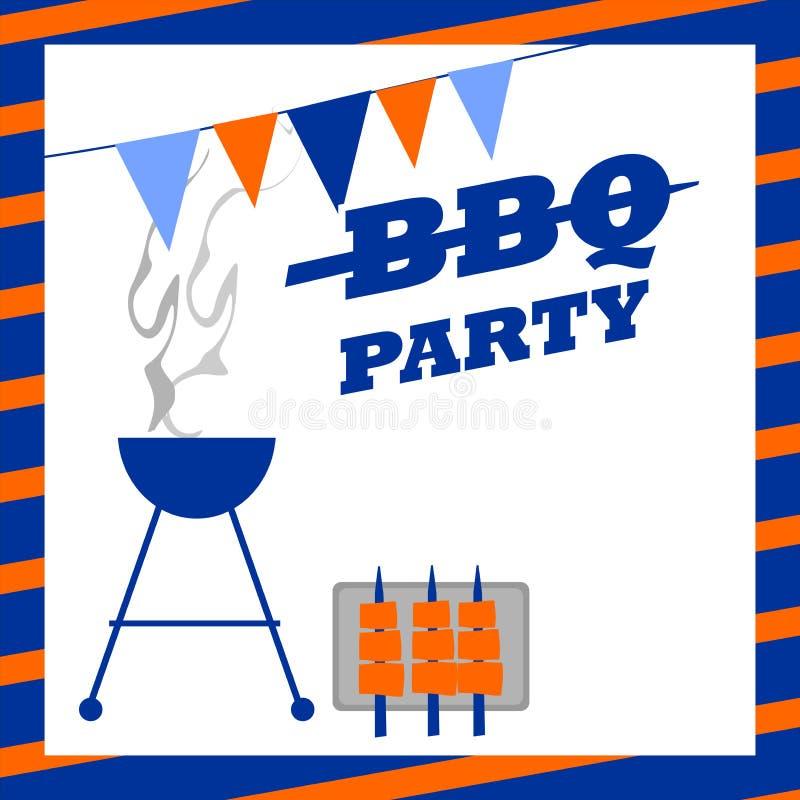 Invitación del partido del Bbq ilustración del vector