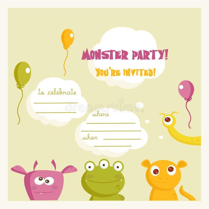 Invitación del partido del monstruo stock de ilustración