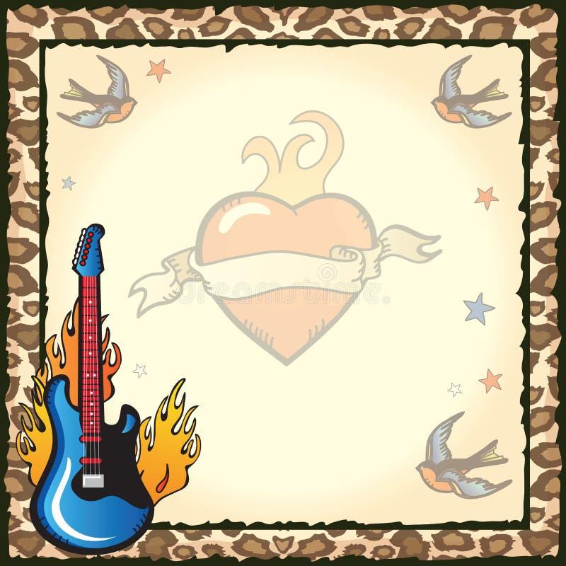 Invitación Del Partido Del Tatuaje De La Estrella Del Rock Foto de archivo libre de regalías