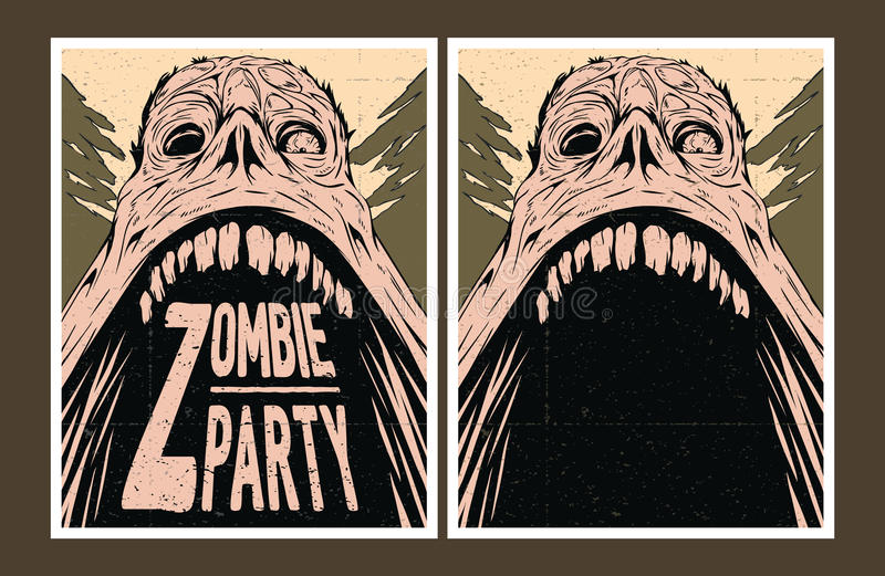 Invitación del partido del zombi ilustración del vector