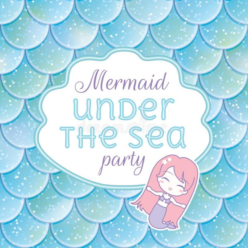 Invitación del partido Escalas de pescados, stiker de la sirena del kawaii y marco brillados Ilustración del vector libre illustration