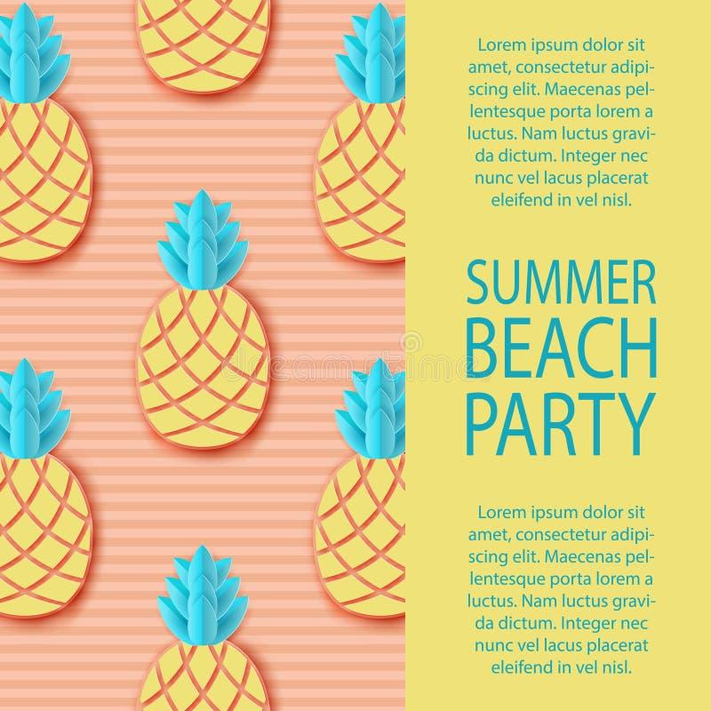Invitación del partido Piña de papel tropical Selva exótica del verano ilustración del vector