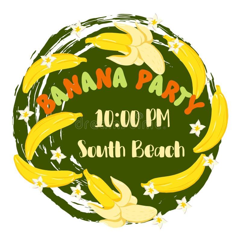 Invitación del partido del plátano con el ejemplo dibujado mano del plátano del estilo del bosquejo y el fondo texturizado stock de ilustración