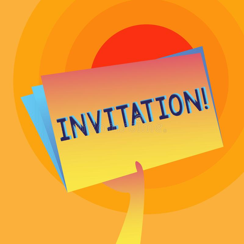 Invitación del texto de la escritura de la palabra Concepto del negocio para la petición escrita o verbal alguien de ir en alguna libre illustration