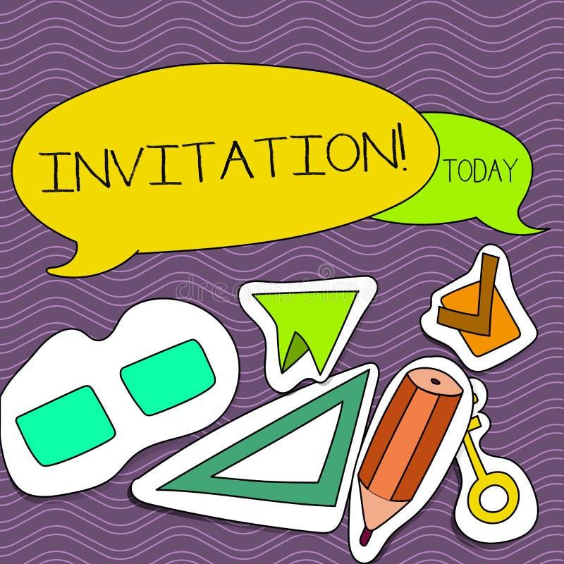 Invitación del texto de la escritura de la palabra Concepto del negocio para la petición escrita o verbal alguien de ir en alguna ilustración del vector