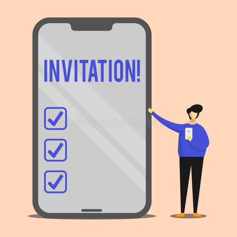 Invitación del texto de la escritura Petición escrita o verbal del significado del concepto alguien de ir en alguna parte o de ha ilustración del vector