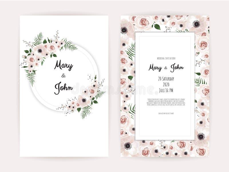 Invitación del vector con los elementos florales hechos a mano Tarjetas de la invitación de la boda con los elementos florales libre illustration