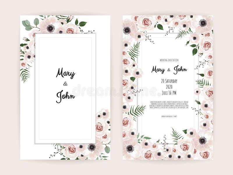 Invitación del vector con los elementos florales hechos a mano Tarjetas de la invitación de la boda con los elementos florales ilustración del vector