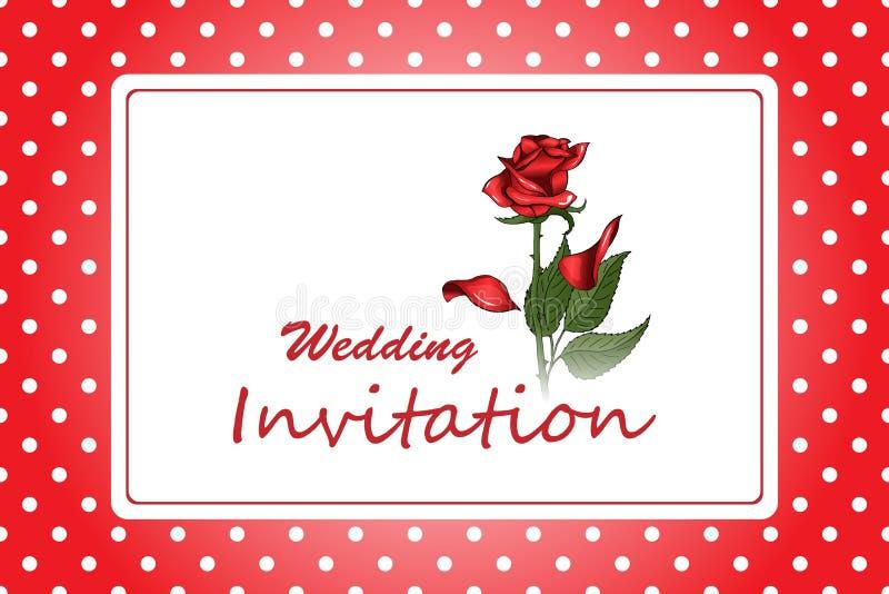 Invitación elegante de la boda del marco con la flor color de rosa roja en fondo del lunar libre illustration