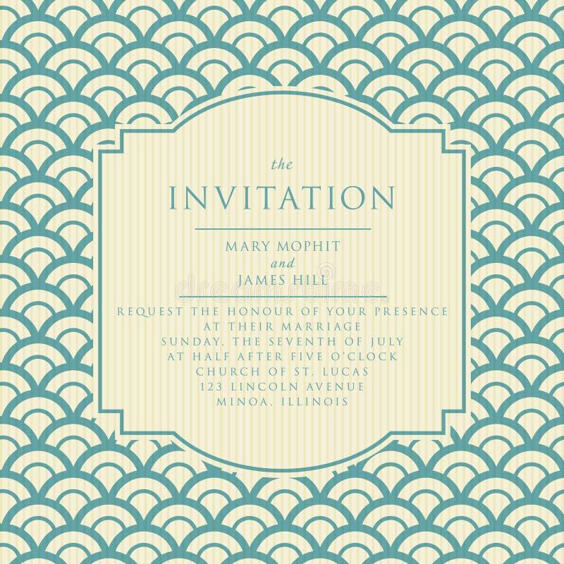 Invitación elegante de la boda del vintage stock de ilustración