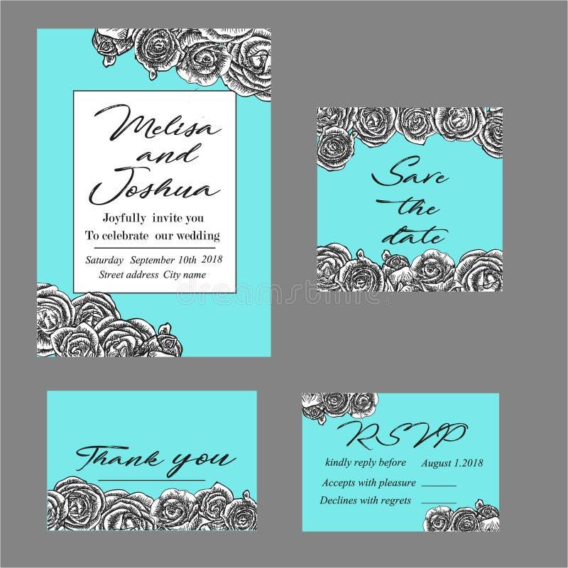 Invitación elegante de la boda del vintage con las flores del verano negro ilustración del vector