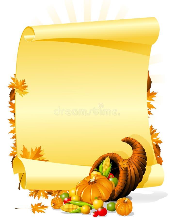 Invitación en blanco del banquete de la acción de gracias ilustración del vector