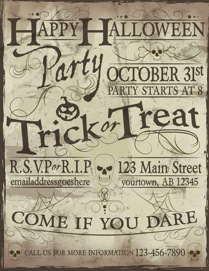 Download Invitación Fantasmagórica Del Partido De Halloween Ilustración del Vector - Ilustración de sucio, cartel: 44852366