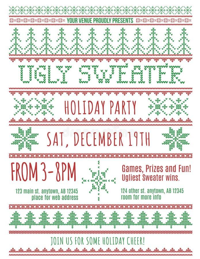 Invitación fea del partido del suéter stock de ilustración
