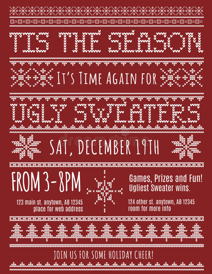 Invitación fea del partido del suéter de la Navidad ilustración del vector