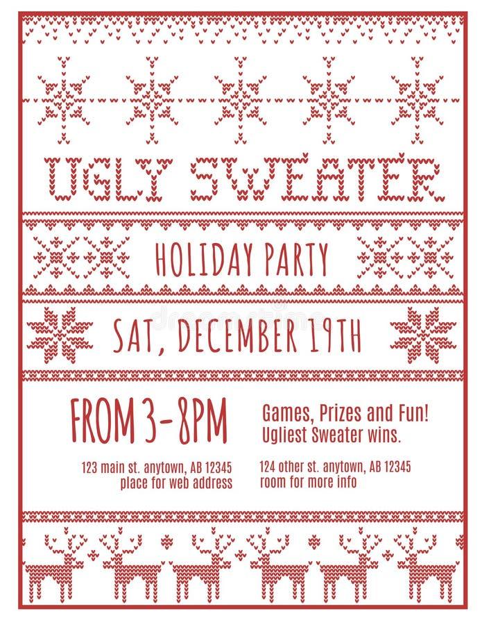 Invitación fea del partido del suéter del día de fiesta stock de ilustración