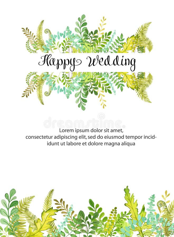 Invitación feliz del fondo de la bandera de la boda Ejemplo moderno del vector del diseño de tarjeta con el estilo de la acuarela libre illustration