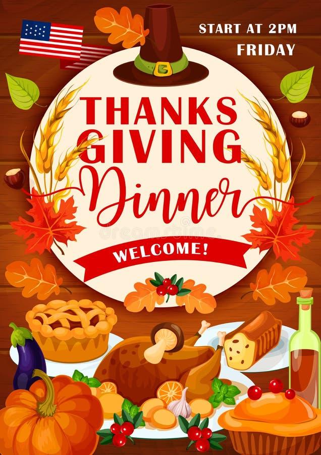 Invitación festiva de la cena del día de fiesta del día de la acción de gracias ilustración del vector