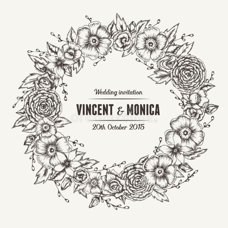Invitación floral de la boda del vintage del vector imagenes de archivo