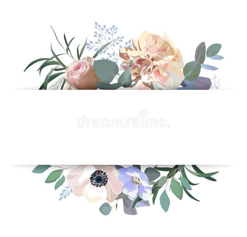 Invitación floral de la boda Rosa rosada elegante del jardín, peonía, anémona, ramas del eucalipto, hojas Modelo del vector ilustración del vector