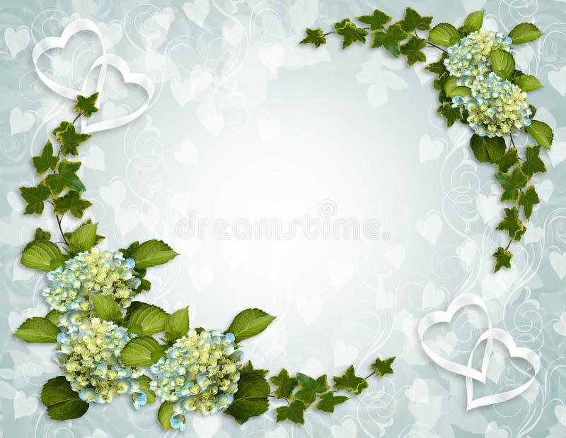 Invitación floral de la frontera de la hiedra y del Hydrangea stock de ilustración