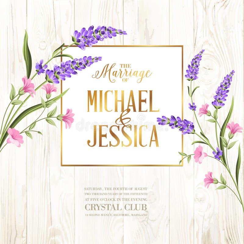 Invitación imprimible del matrimonio del vintage con las flores sobre modelo de madera ilustración del vector