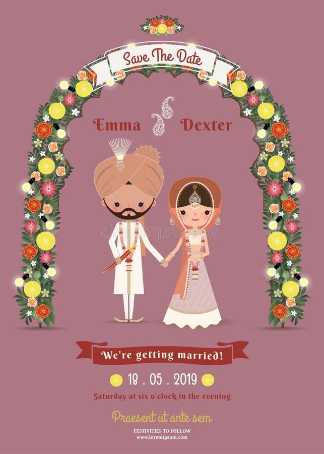 Invitación india del rosa de Cartoon Romantic Dark de la novia y del novio de la boda stock de ilustración