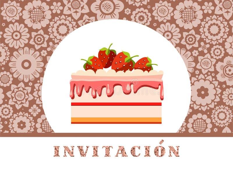 Invitación a la celebración, torta de la fresa, español, marrón, floral, vector libre illustration