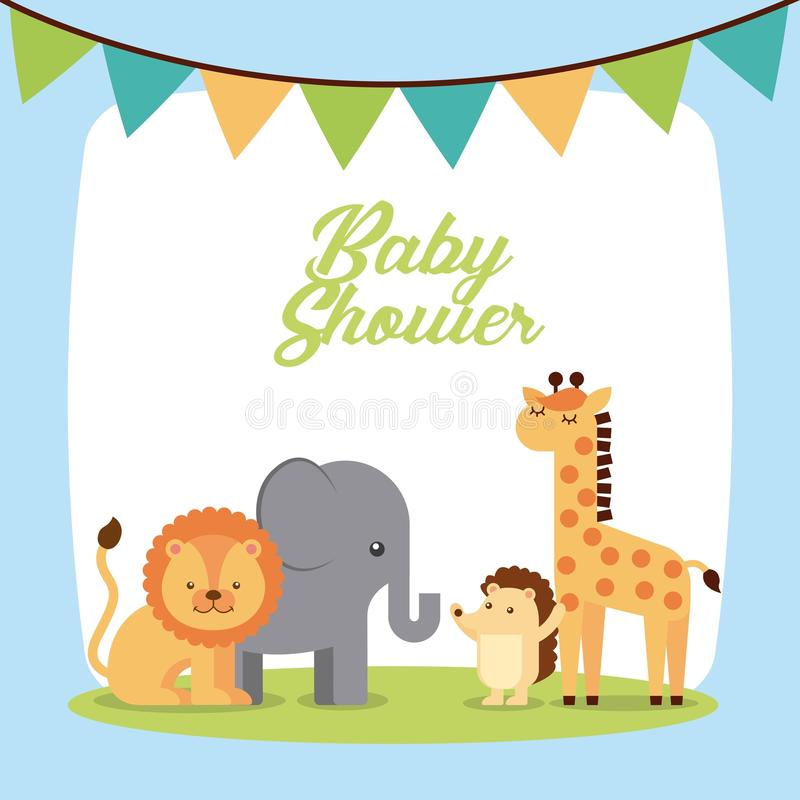 Invitación linda animal de la fiesta de bienvenida al bebé stock de ilustración