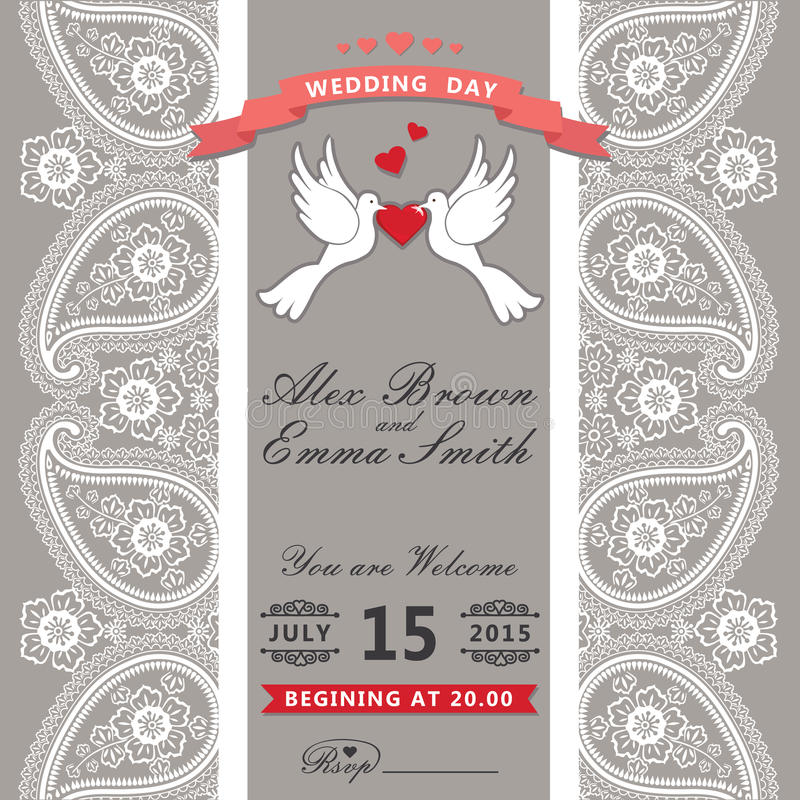 Invitación linda de la boda Cordón de la frontera de Paisley, palomas de la historieta Vint libre illustration