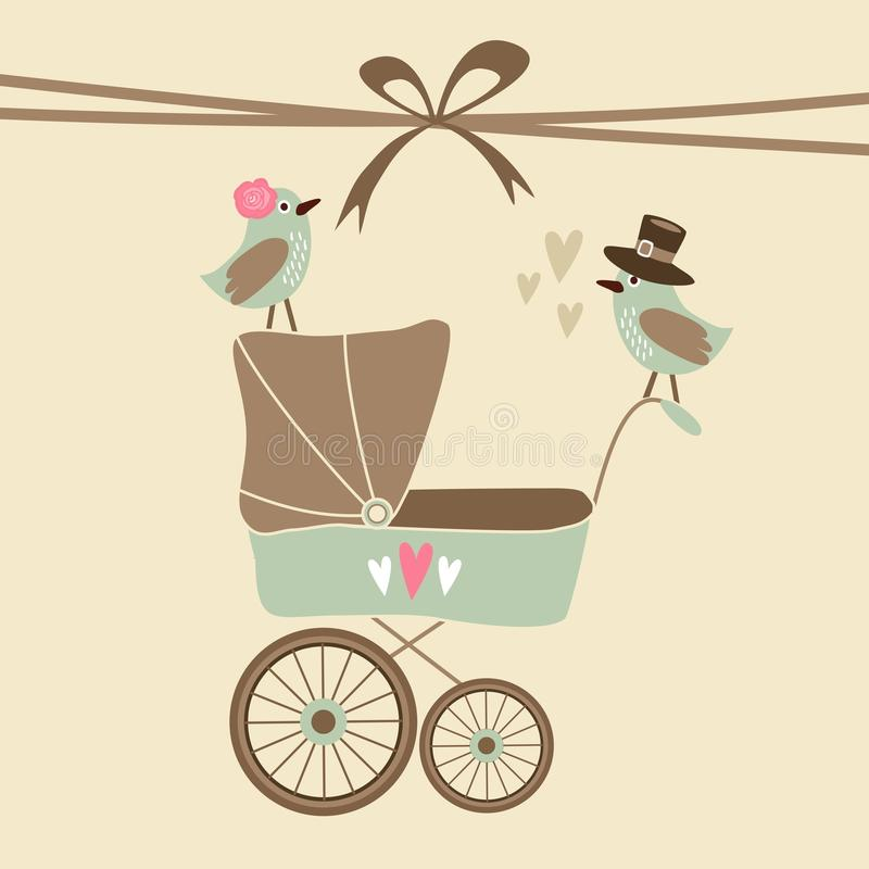 Invitación linda de la fiesta de bienvenida al bebé, tarjeta de cumpleaños con el carro de bebé y pájaros, fondo del ejemplo stock de ilustración