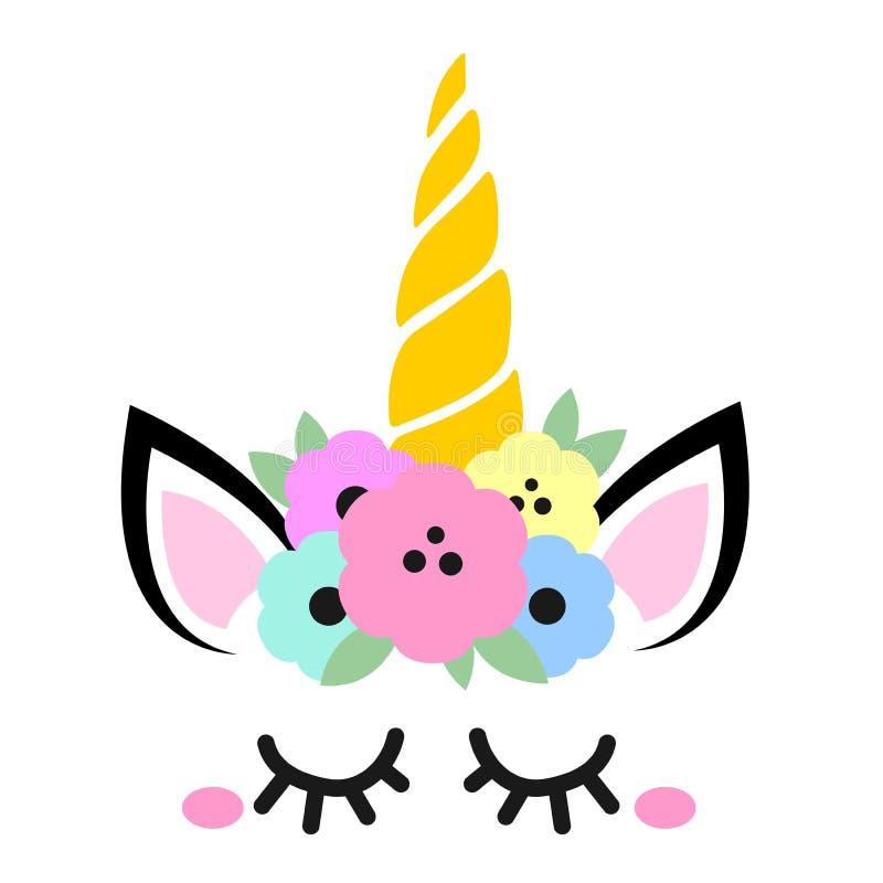 Invitación linda del cumpleaños con unicornio libre illustration