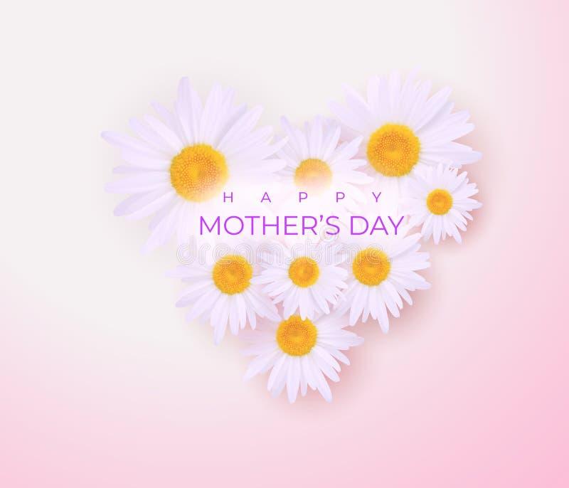 Invitación linda del día de la madre con el ramo de margaritas stock de ilustración