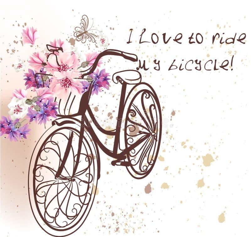 Invitación linda del vector con la bicicleta y las flores falsas stock de ilustración