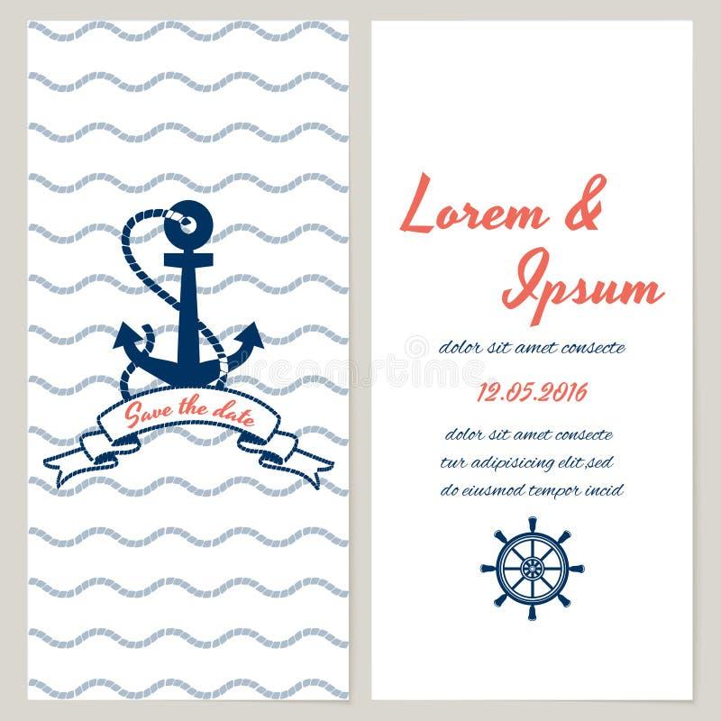 Invitación náutica de la boda del estilo libre illustration