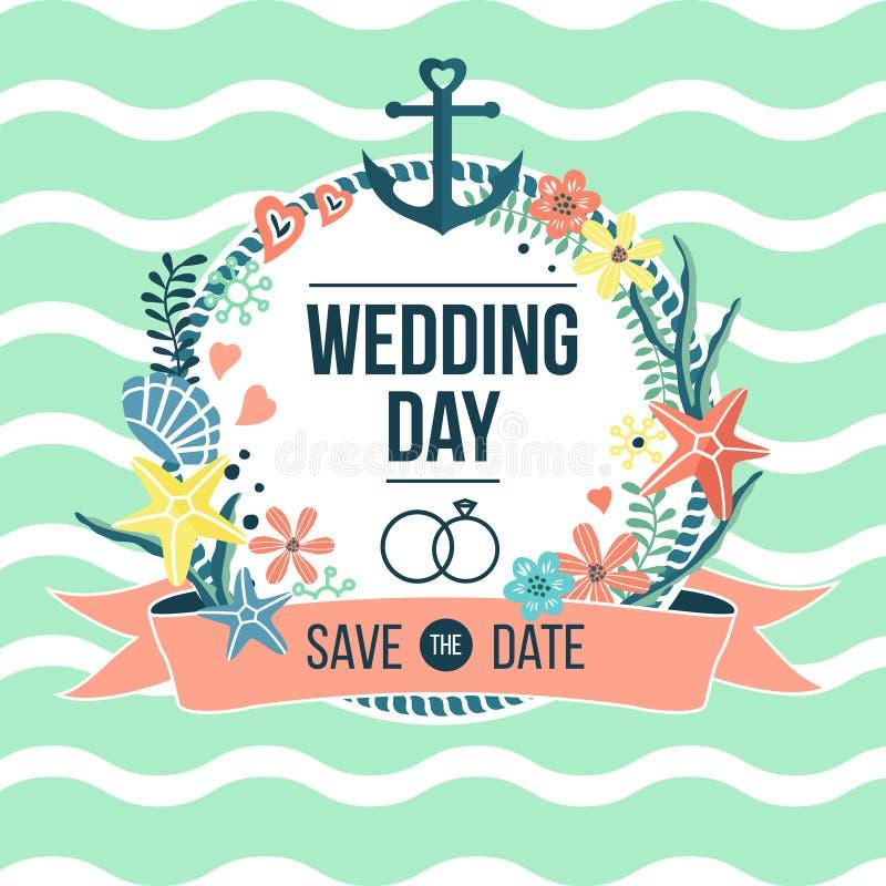 Invitación náutica del día de boda stock de ilustración