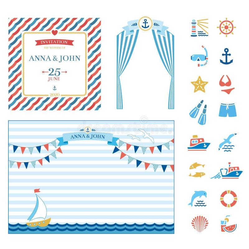 Invitación náutica marina de la boda de los elementos del evento libre illustration