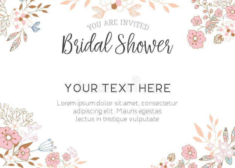 Invitación nupcial de la ducha ilustración del vector