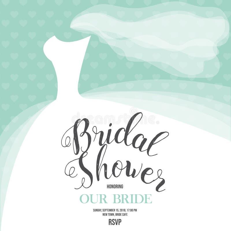 Invitación nupcial de la ducha con el vestido de boda stock de ilustración