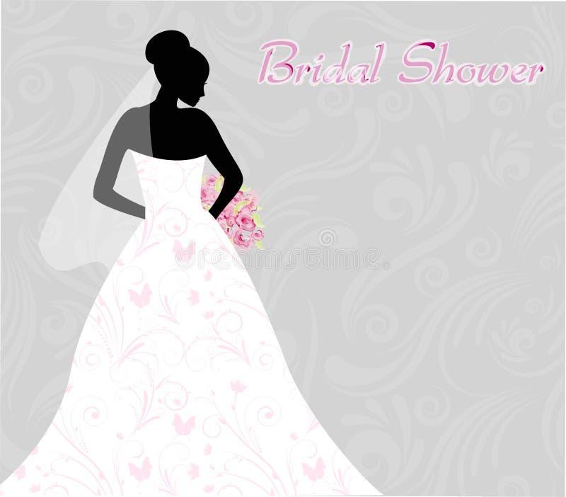 Invitación nupcial de la ducha con la silueta de la novia libre illustration