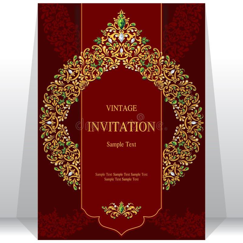 Invitación o tarjeta de la boda con el fondo abstracto stock de ilustración