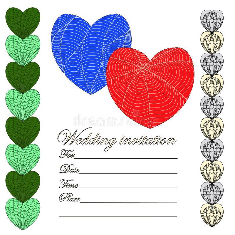 Invitación para una boda en el estilo de un zenart, colore de los corazones libre illustration
