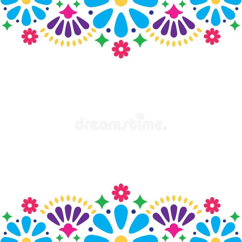 Invitación popular mexicana de la boda o del partido, tarjeta de felicitación feliz floral, diseño colorido con las flores y form libre illustration